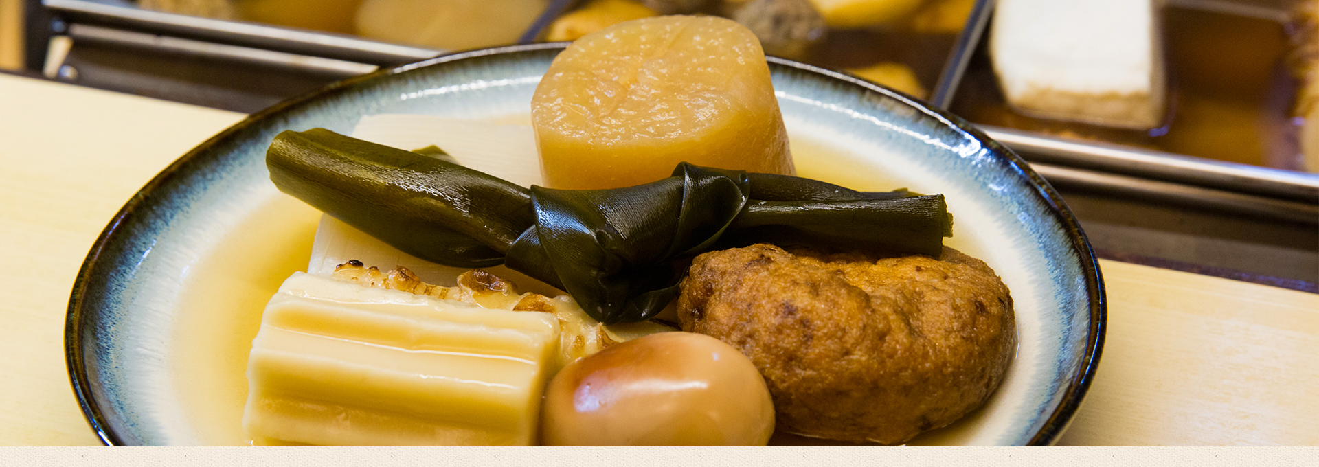 Oden made with carefully prepared dashi stock and specially selected sashimi at Oden Koryori Hashiyama